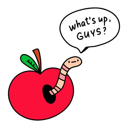 Whats up guys saying worm inside apple hand drawn illustration with speech bubble