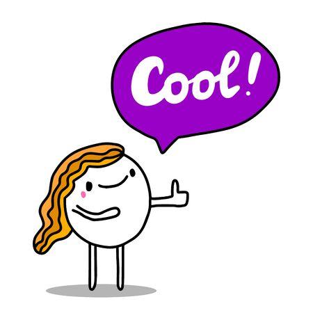 Cool beautiful comic cartoon woman speaking hand drawn vector illustration Ilustrace