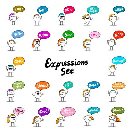 Big expressions set hand drawn vector illustration in cartoon comic style Ilustrace