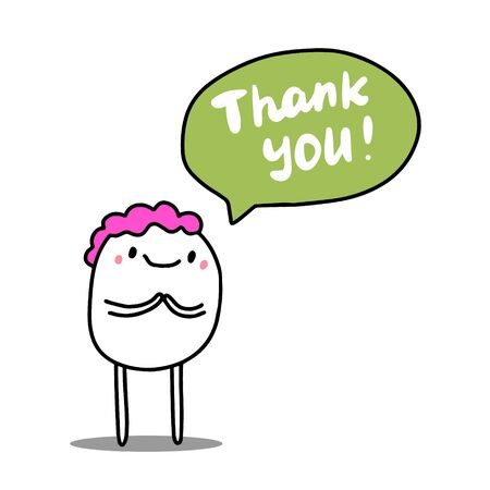 Thank you hand drawn vector illustration with cute cartoon man bubble lettering