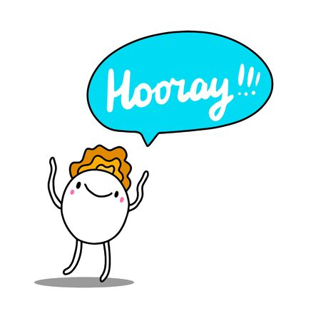 Hooray hand drawn vector illustration in cartoon style comic man shouting