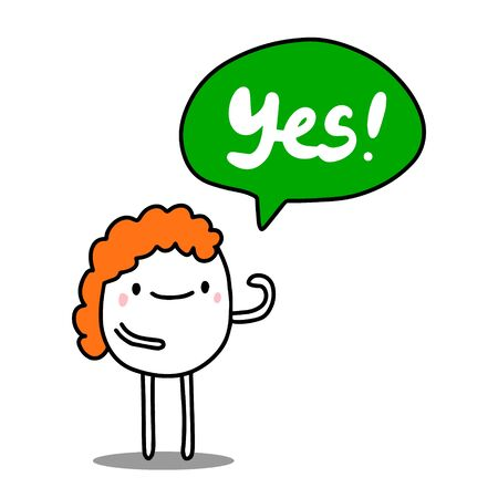 Yes hand drawn vector illustration in cartoon comic style Ilustrace