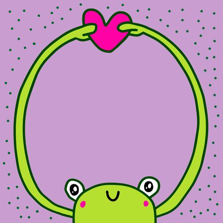 Frog hugs heart hand drawn vector illustration in cartoon style empty space for banner print poster love message pastel colors