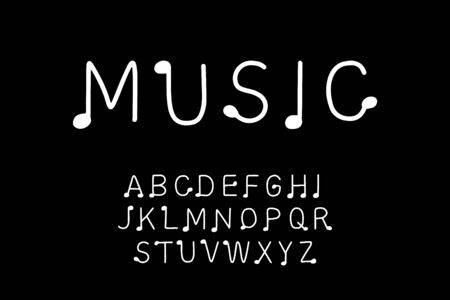 Music hand drawn vector type in cartoon comic style notes black white contrast