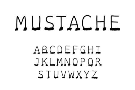 Mustache hand drawn vector type font in cartoon comic style hair on face black white contrast
