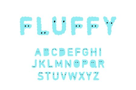Fluffy hand drawn vector type font in cartoon comic style with eyes blue creature monster lettering Ilustração