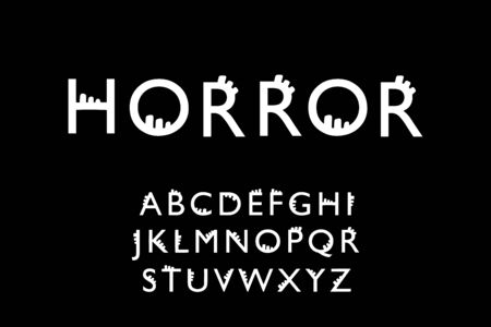 Horror hand drawn vector type font in cartoon comic style lettering