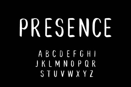 Presence hand drawn vector type font in cartoon comic style balck white contrast