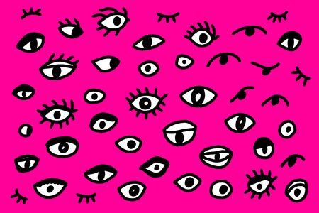 Different types of eyes hand drawn vector illustration set in cartoon style on purple background Çizim