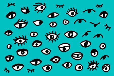 Different types of eyes hand drawn vector illustration set in cartoon style on turquoise background