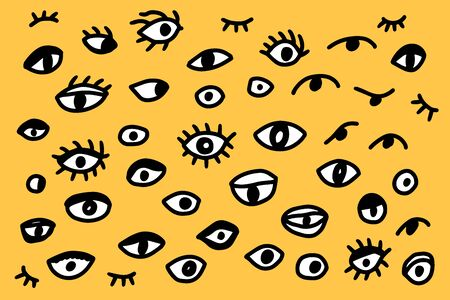 Different types of eyes hand drawn vector illustration set in cartoon style on yellow background