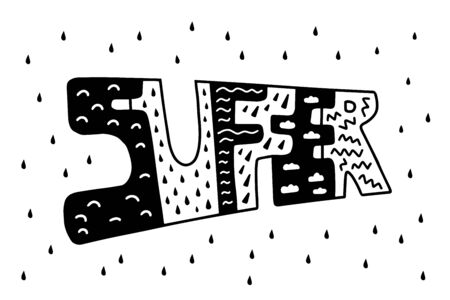 Suffer hand drawn vector lettering in cartoon comic style black white contrast pain emotion