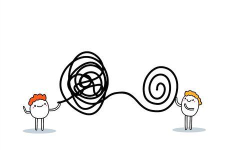 Psychotherapy hand drawn vector illustration in cartoon comic style men speaking Ilustração