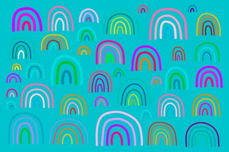 Big colorful rainbow set in cartoon comic style illustration vibrant colors on turquoise background Stock fotó - 132697292