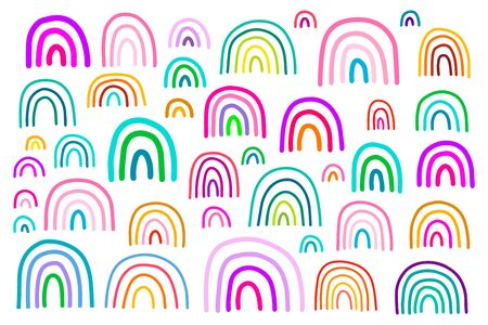 Big colorful rainbow set in cartoon comic style illustration vibrant colors on white background Illusztráció