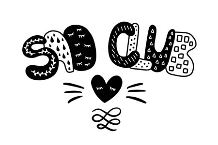 Sad club hand drawn vector lettering in cartoon comic style with heart symbol black white contrast