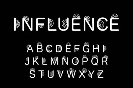 Influence hand drawn vector type font in cartoon comic style white black contrast lettering