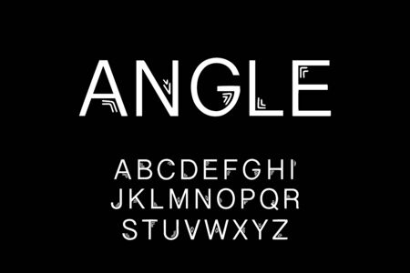 Angle hand drawn vector type font in cartoon comic srtyle black white contrast