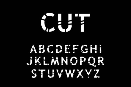 Cut hand drawn vector type font in cartoon comic style black white contrast lettering Vektorové ilustrace