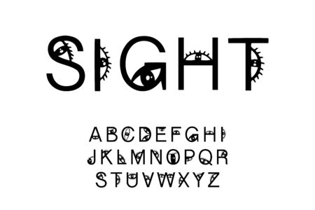 Sight hand drawn vector type font in cartoon comic style black white eyes look Illustration