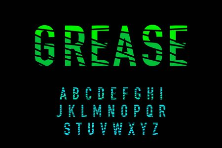 Grease hand drawn vector type font in cartoon comic style gradient colors