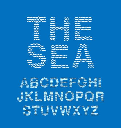 The sea hand drawn vector type font waves in cartoon comic style white blue ocean water 版權商用圖片 - 132979533