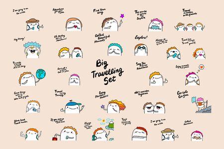 Große tavelling set handgezeichnete Vektorgrafik im Cartoon-Comic-Stil Menschen mit Rucksäcken Gepäck Freunde Schriftzug