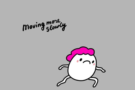 Moving more slowly hand drawn vector illustration in cartoon comic style man pink haired symptom of depression