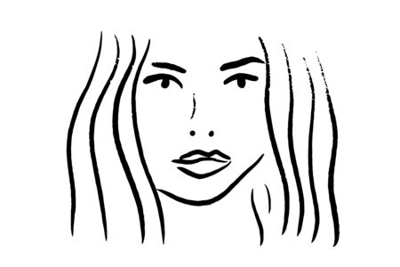 Black and white portrait of beautiful woman line art hand drawn vector background wallpaper