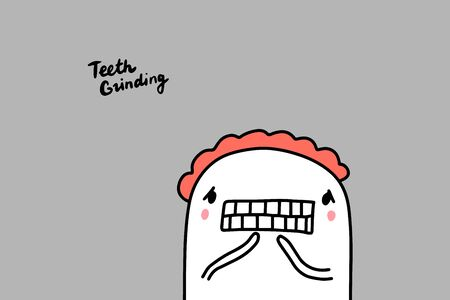 Teeth grinding hand drawn vector illustration in cartoon comic style man showing mouth depression symptom