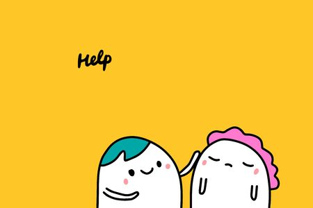 Help hand drawn vector illustration in cartoon comic style people supporting each other Foto de archivo - 133556519