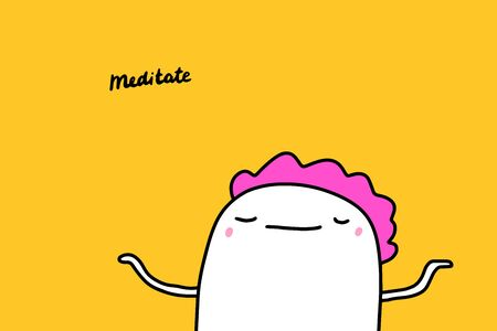 Meditate hand drawn vector illustration with cartoon comic man relaxed Foto de archivo - 133556521