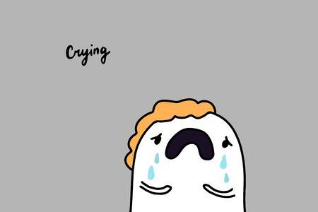 Crying depression symptom hand drawn vector illustration in cartoon comic style man tears lettering Foto de archivo - 133556524