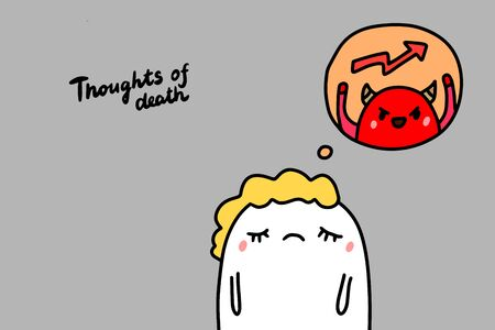 Thoughts about death depression symptom hand drawn vector illustration in cartoon comic style man and devil lettering Foto de archivo - 133556525