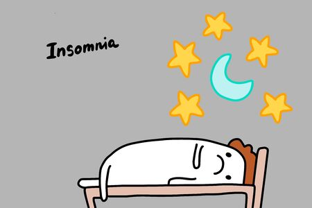 Insomnia depression symptom hand drawn vector illustration in cartoon comic style man with open eyes at night lettering Foto de archivo - 133556527