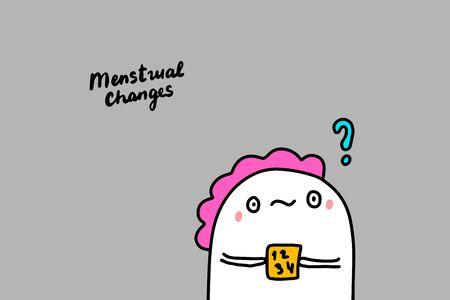 Menstrual changes hand drawn vector illustration with cute cartoon comic woman holding calendar depression symptom lettering Ilustracja