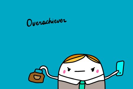 Overachiever hand drawn vector illustration in cartoon comic style man busy social mask lettering Foto de archivo - 133556586