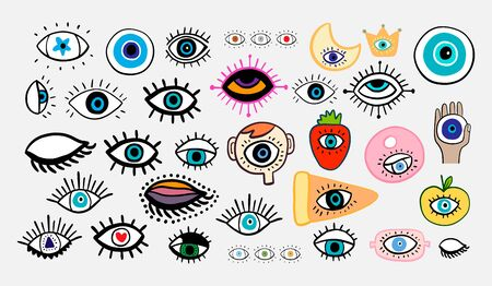 Big eyes set different forms hand drawn vector illustrations in cartoon comic style lashes crown strawberry head donut moon apple man star