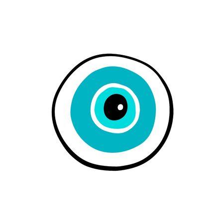 Blue round eye hand drawn vector illustration in cartoon comic style symbol open Foto de archivo - 134237922