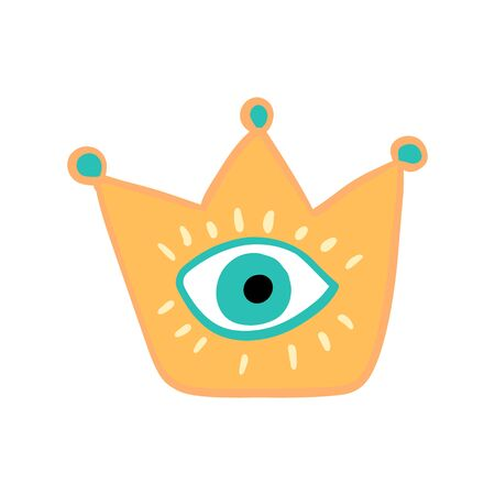 Eye in crown hand drawn vector illustration in cartoon comic style yellow blue lashes Foto de archivo - 134237926