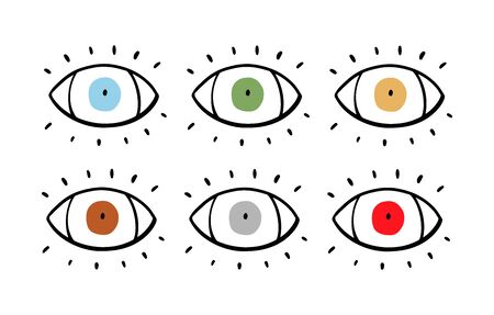 Set of colored eyes hand drawn vector illustration in cartoon comic style green blue yellow orange beige grey red Foto de archivo - 134237924