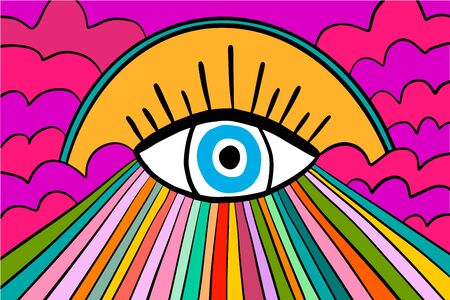 Psychedelic hand drawn vector background wallpaper in cartoon comic abstract style rainbow colors big eye Foto de archivo - 134237932