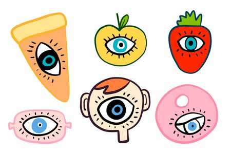 Big eyes set different forms hand drawn vector illustrations in cartoon comic style pizza apple strawberry sausage head donut Foto de archivo - 134237935