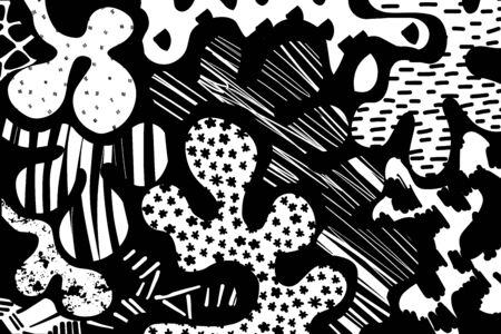 Black and white contrast hand drawn vector background wallpaper in cartoon comic style textured Foto de archivo - 134237938
