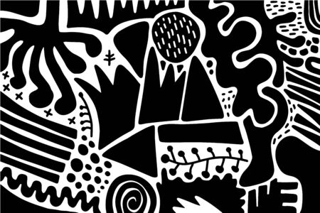 Black and white contrast hand drawn vector background wallpaper in cartoon comic style different forms Foto de archivo - 134237940