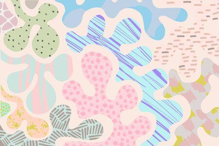 Kids pastel texture background in cartoon comic style pink turquoise grey green violet blue Foto de archivo - 134237942