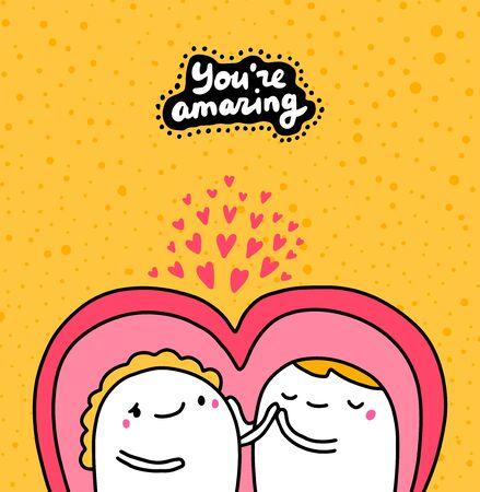 You are amazing hand drawn vector illustration with cartoon comic couple hugging lettering yellow pink purple tender pastel Vektoros illusztráció