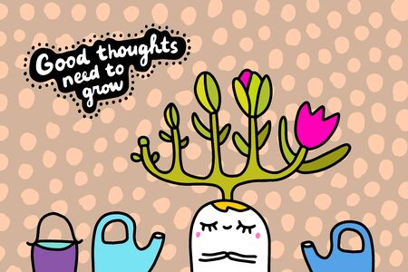 Good thoughts need to grow hand drawn vector illustration in cartoon comic style man with tree on his head flowers blooming garden Foto de archivo - 134237951