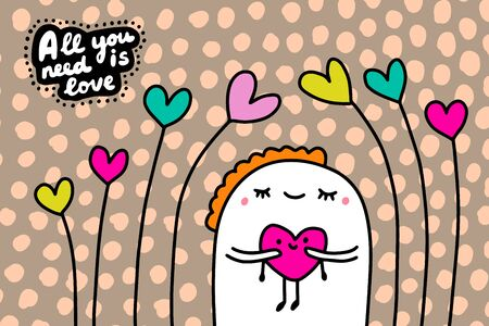 All you need is love hand drawn vector illustration in cartoon comic style man holding heart decorative Foto de archivo - 134237969