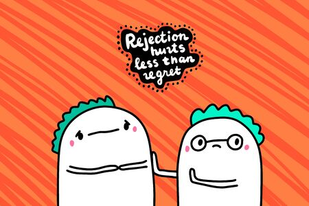 Rejection hurts less than regret hand drawn vector illustration in cartoon comic style men people lettering Foto de archivo - 134237964
